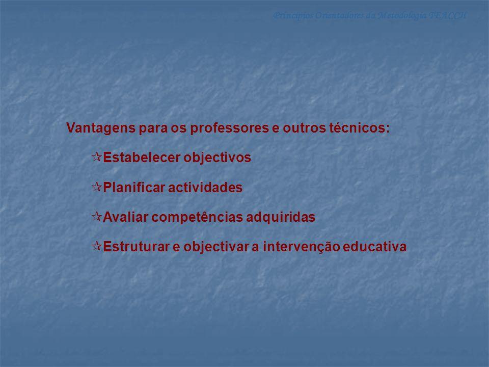 Vantagens para os professores e outros técnicos: