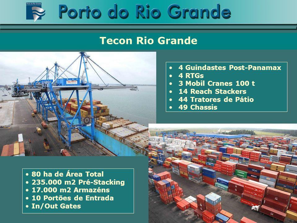 Tecon Rio Grande 4 Guindastes Post-Panamax 4 RTGs 3 Mobil Cranes 100 t