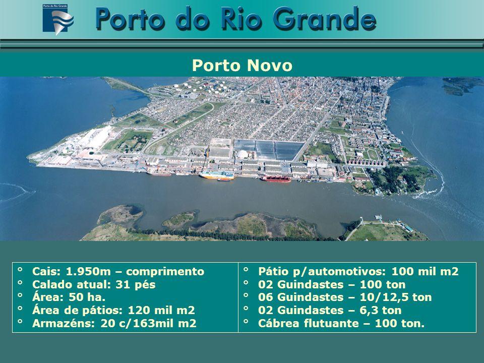 Porto Novo Cais: 1.950m – comprimento Calado atual: 31 pés