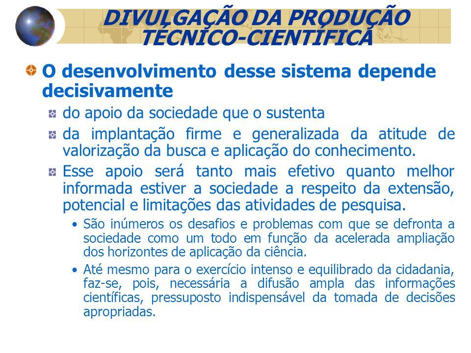 DIVULGAÇÃO DA PRODUÇÃO TÉCNICO-CIENTÍFICA