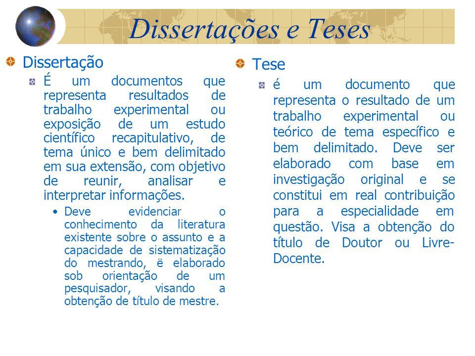Dissertações e Teses Dissertação Tese