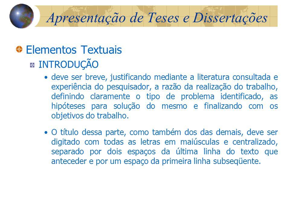 Apresentação de Teses e Dissertações