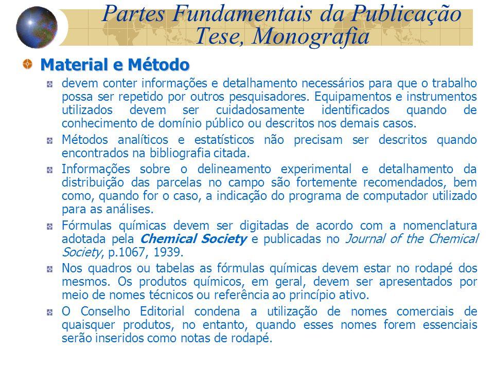 Partes Fundamentais da Publicação Tese, Monografia