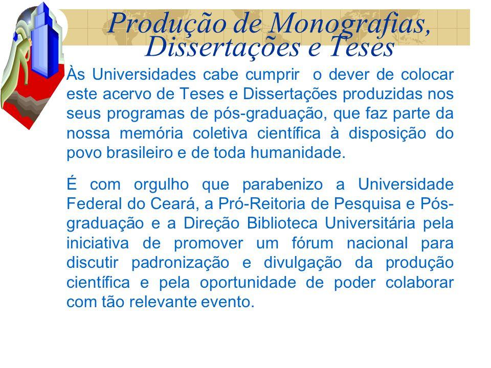 Produção de Monografias, Dissertações e Teses