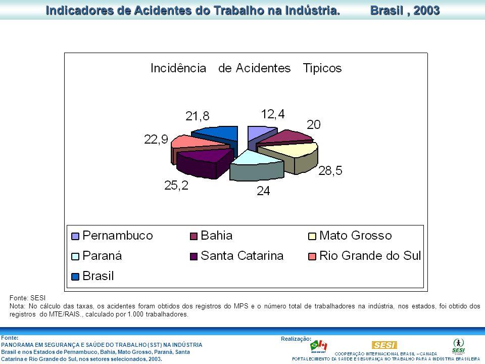 Indicadores de Acidentes do Trabalho na Indústria. Brasil , 2003