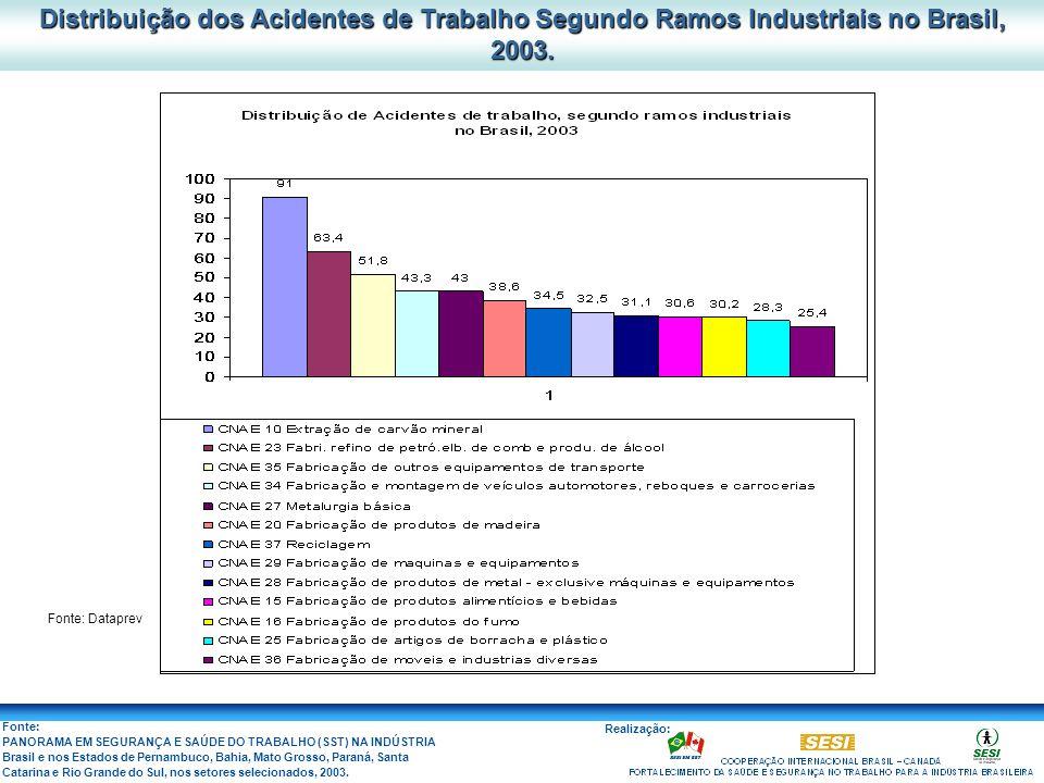 Distribuição dos Acidentes de Trabalho Segundo Ramos Industriais no Brasil, 2003.