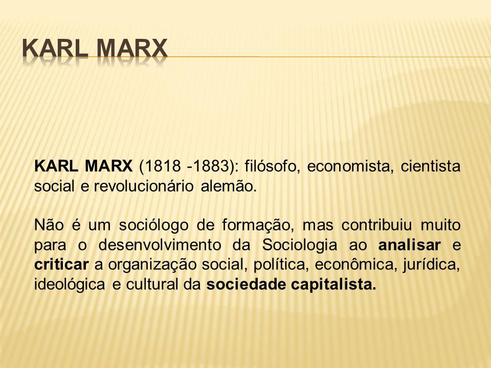 Karl Marx KARL MARX (1818 -1883): filósofo, economista, cientista social e revolucionário alemão.