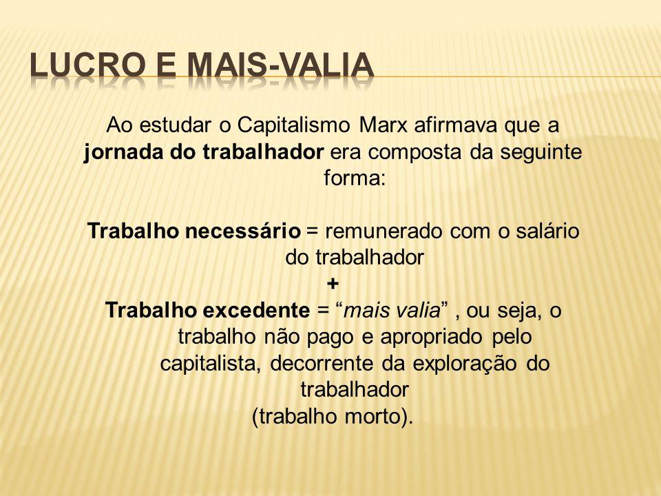 Lucro e mais-valia Ao estudar o Capitalismo Marx afirmava que a