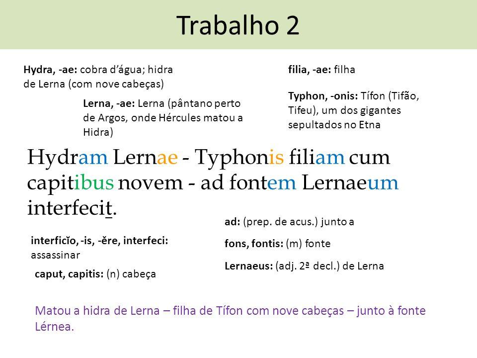 Trabalho 2 Hydra, -ae: cobra d'água; hidra de Lerna (com nove cabeças) filia, -ae: filha.
