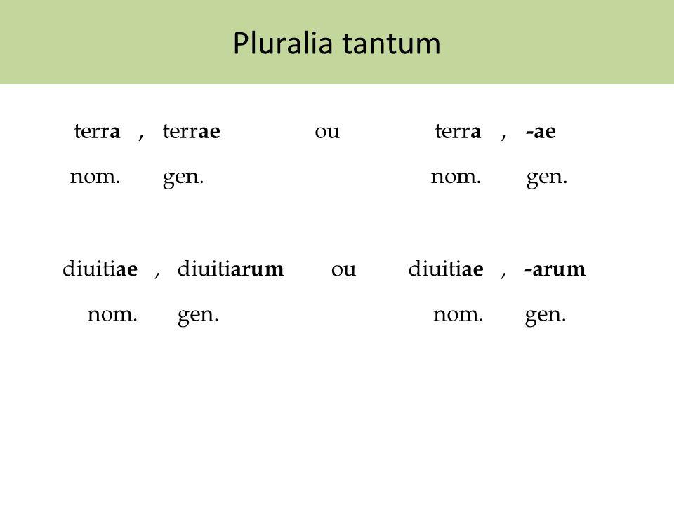 Pluralia tantum terra , terrae ou -ae nom. gen. diuitiae , diuitiarum