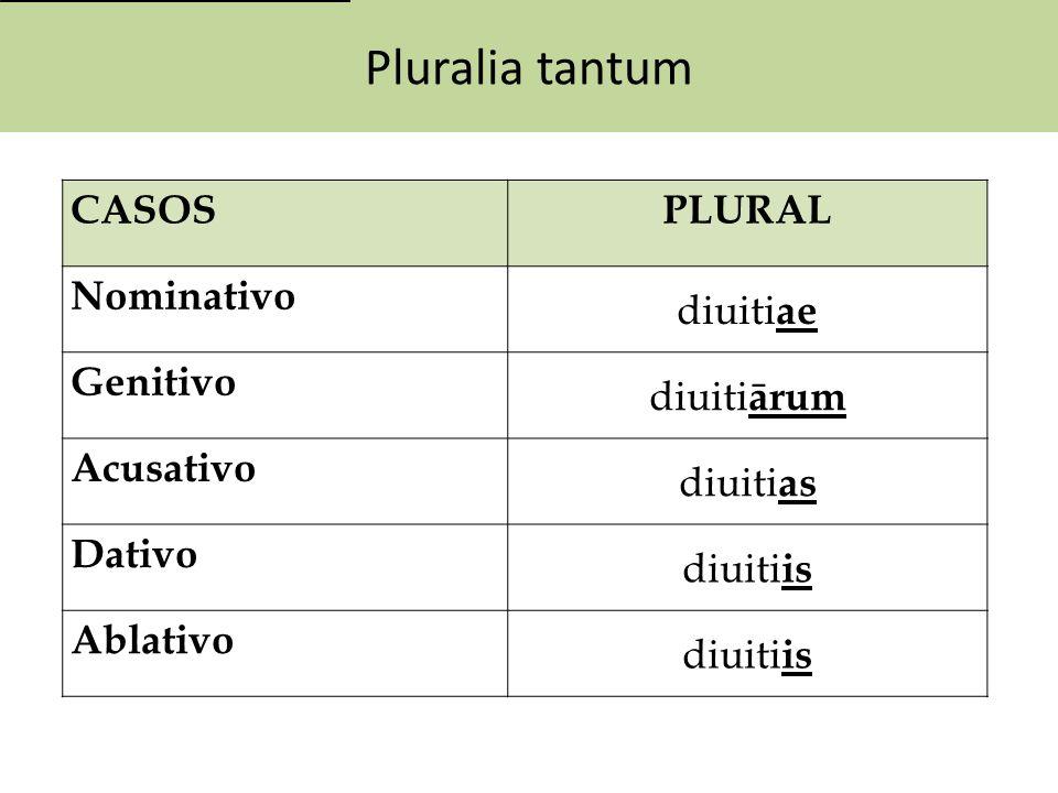 Pluralia tantum CASOS PLURAL Nominativo diuitiae Genitivo diuitiārum