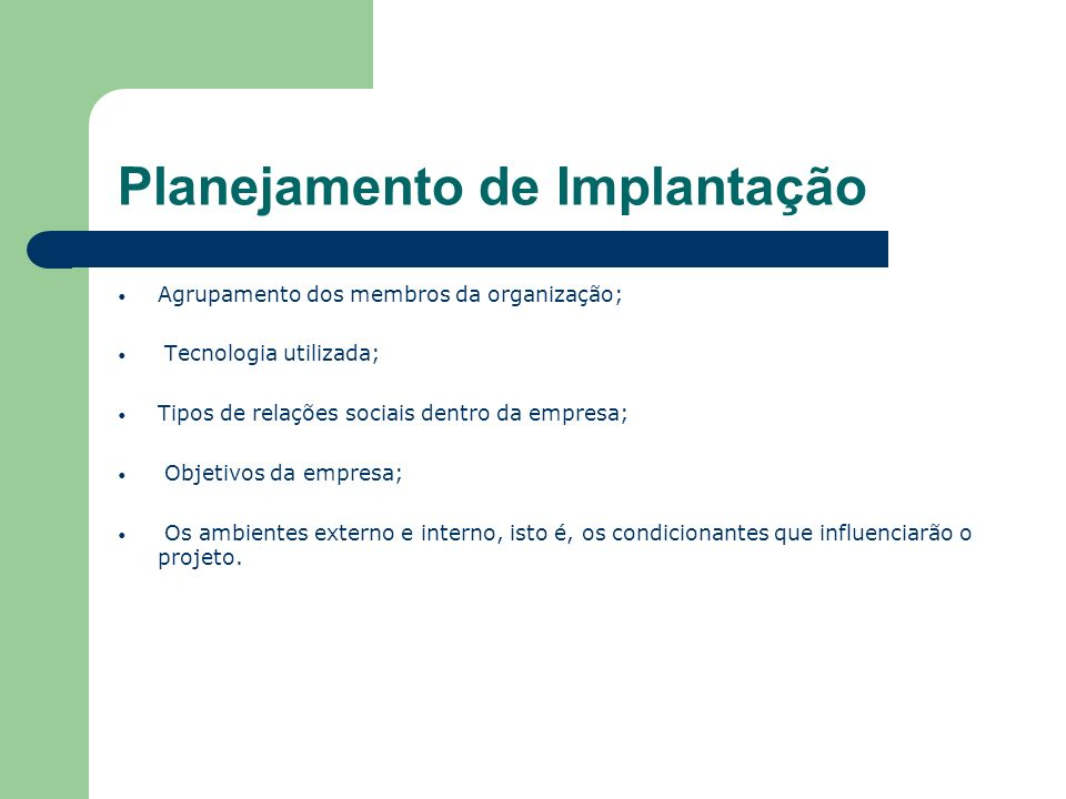 Planejamento de Implantação