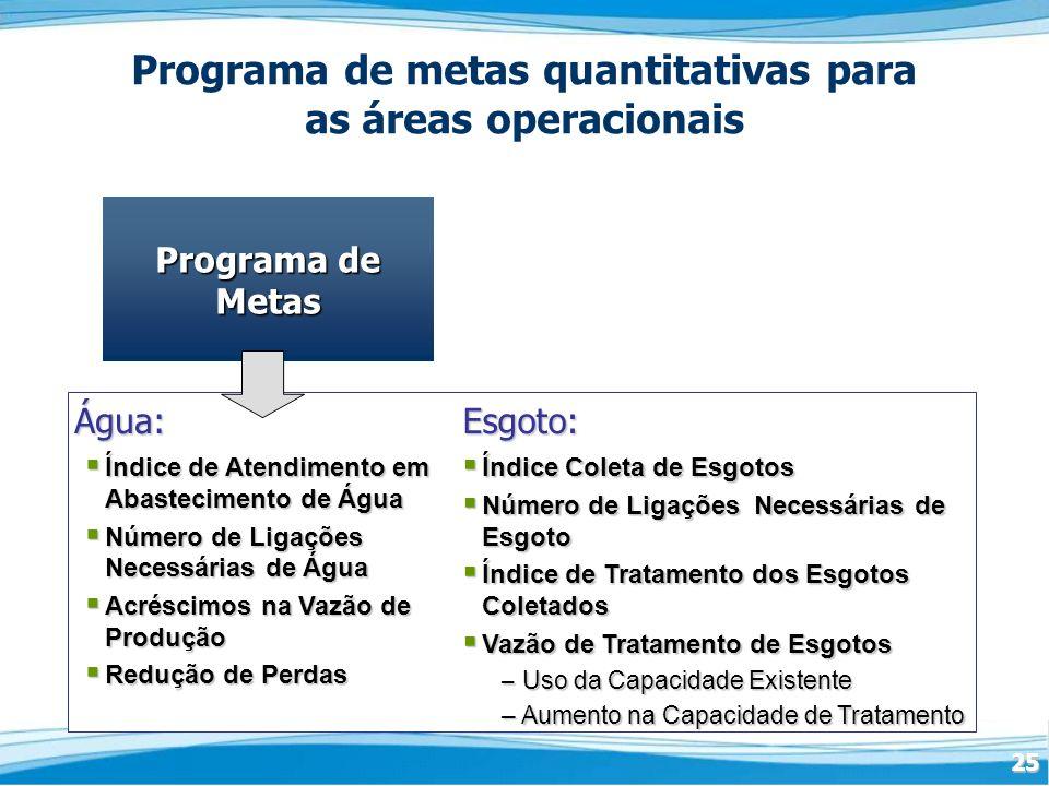 Programa de metas quantitativas para as áreas operacionais