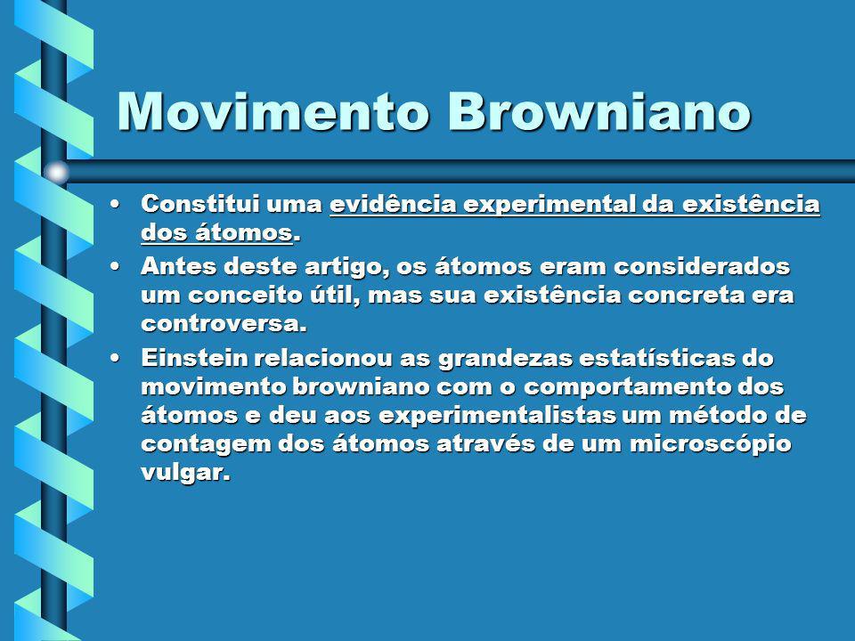 Movimento Browniano Constitui uma evidência experimental da existência dos átomos.