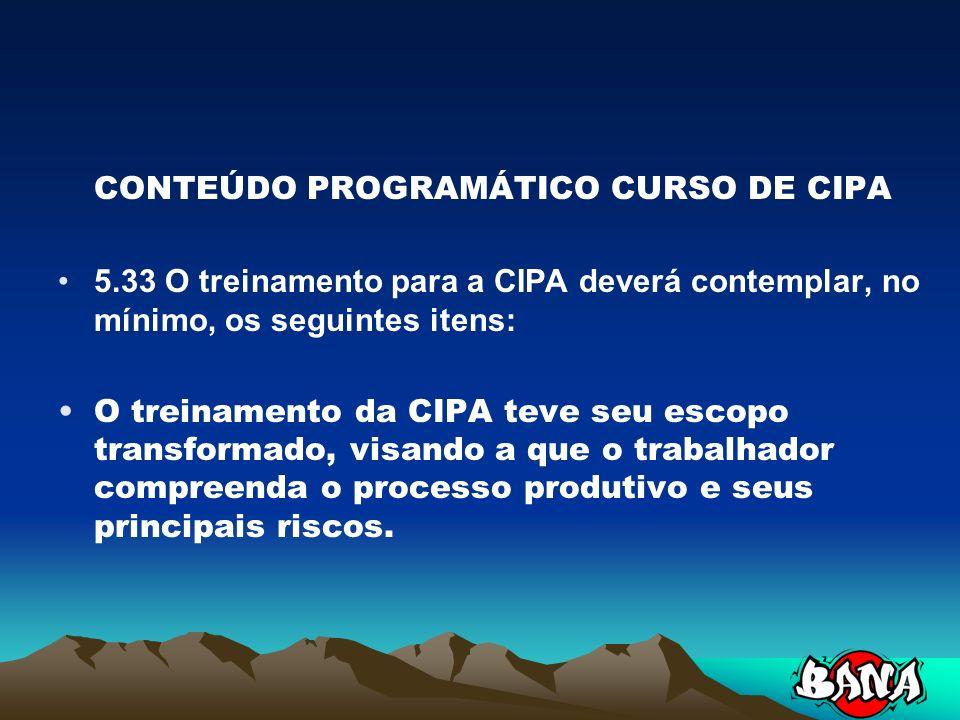 CONTEÚDO PROGRAMÁTICO CURSO DE CIPA