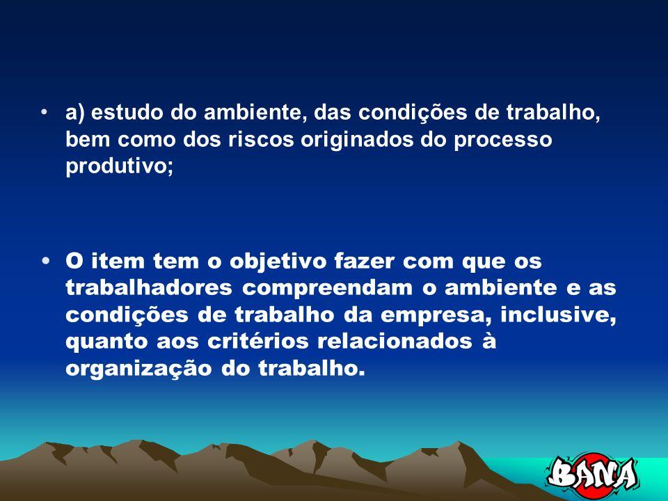 a) estudo do ambiente, das condições de trabalho, bem como dos riscos originados do processo produtivo;