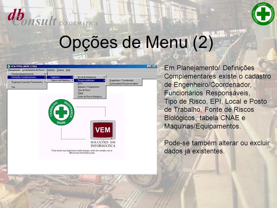 db Opções de Menu (2) Consult