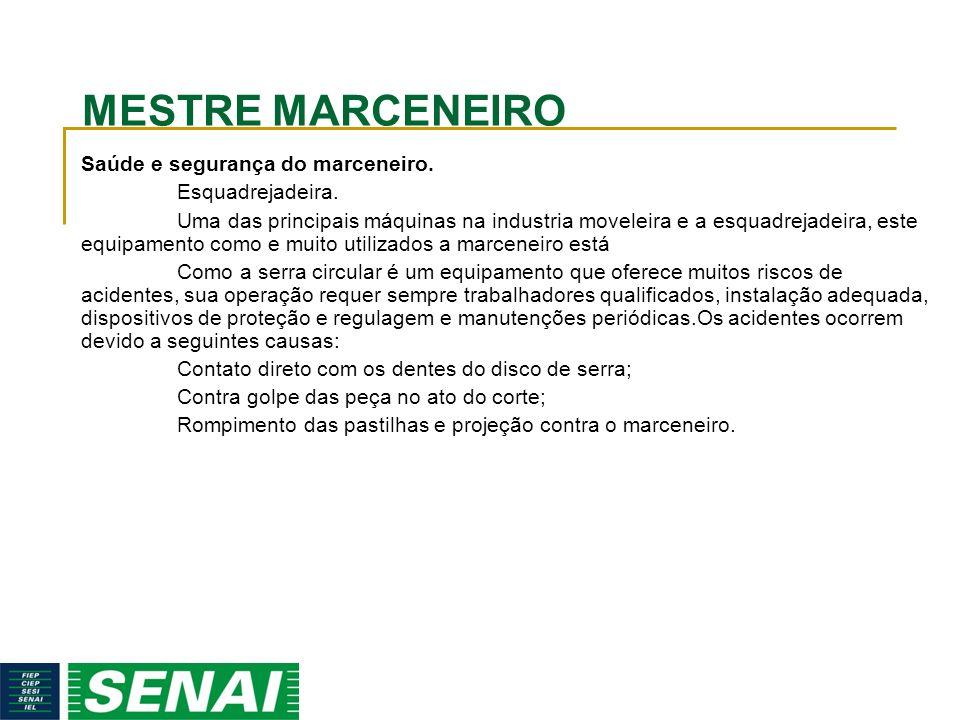 MESTRE MARCENEIRO Saúde e segurança do marceneiro. Esquadrejadeira.
