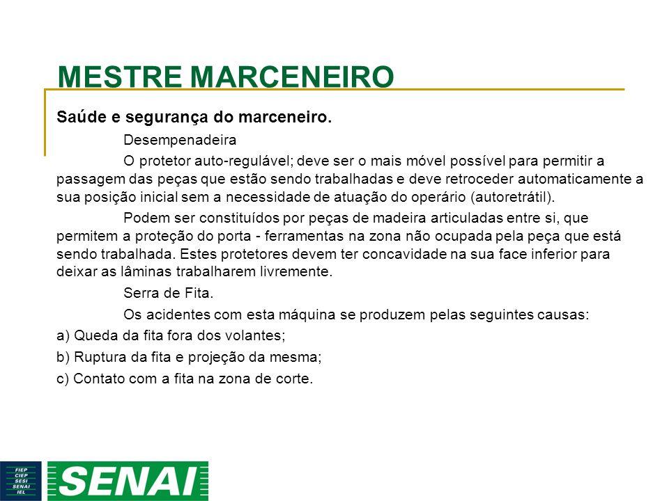 MESTRE MARCENEIRO Saúde e segurança do marceneiro. Desempenadeira