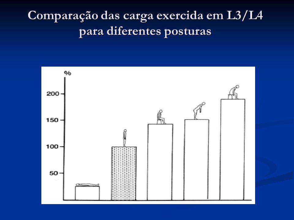 Comparação das carga exercida em L3/L4 para diferentes posturas