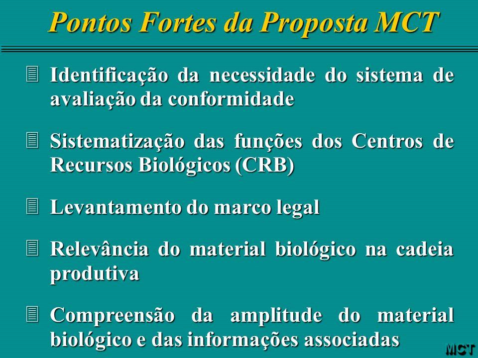 Pontos Fortes da Proposta MCT