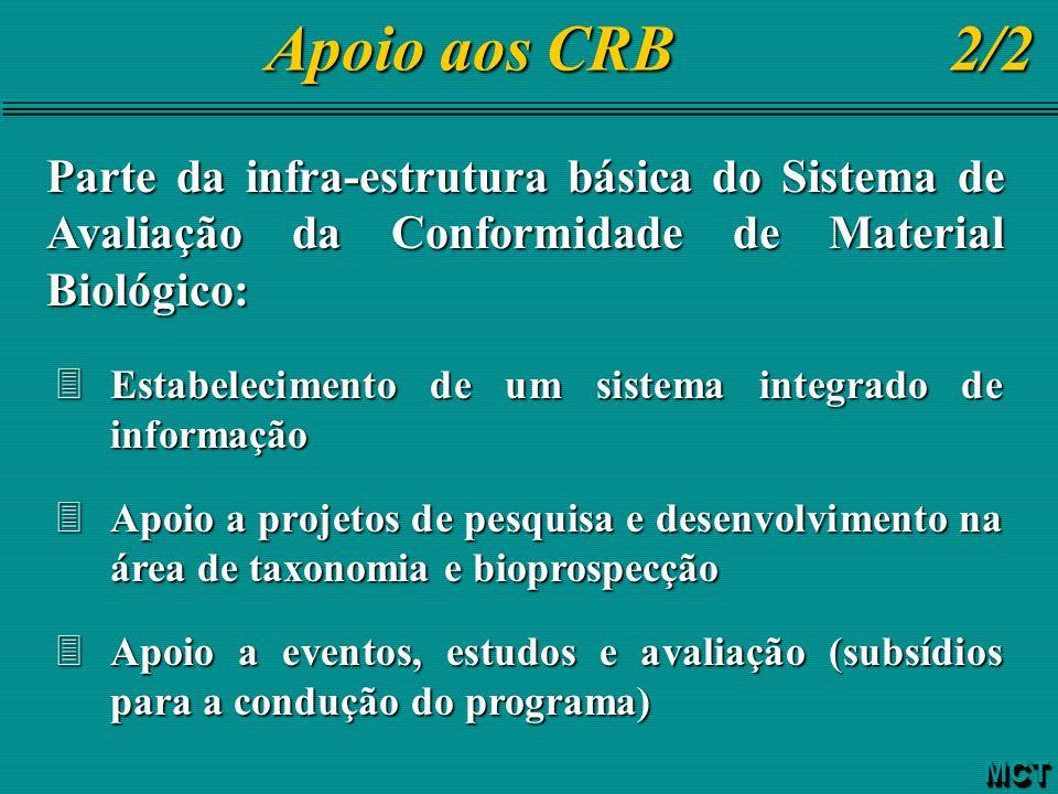Apoio aos CRB 2/2 Parte da infra-estrutura básica do Sistema de Avaliação da Conformidade de Material Biológico: