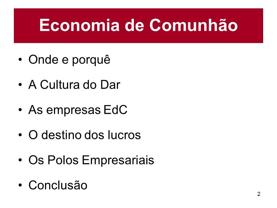 Economia de Comunhão Onde e porquê A Cultura do Dar As empresas EdC