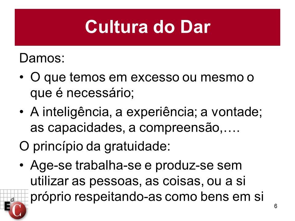 Cultura do Dar Damos: O que temos em excesso ou mesmo o que é necessário;