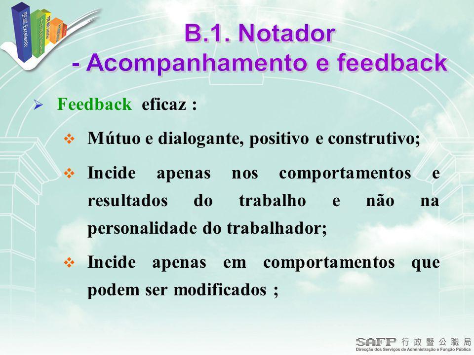 - Acompanhamento e feedback