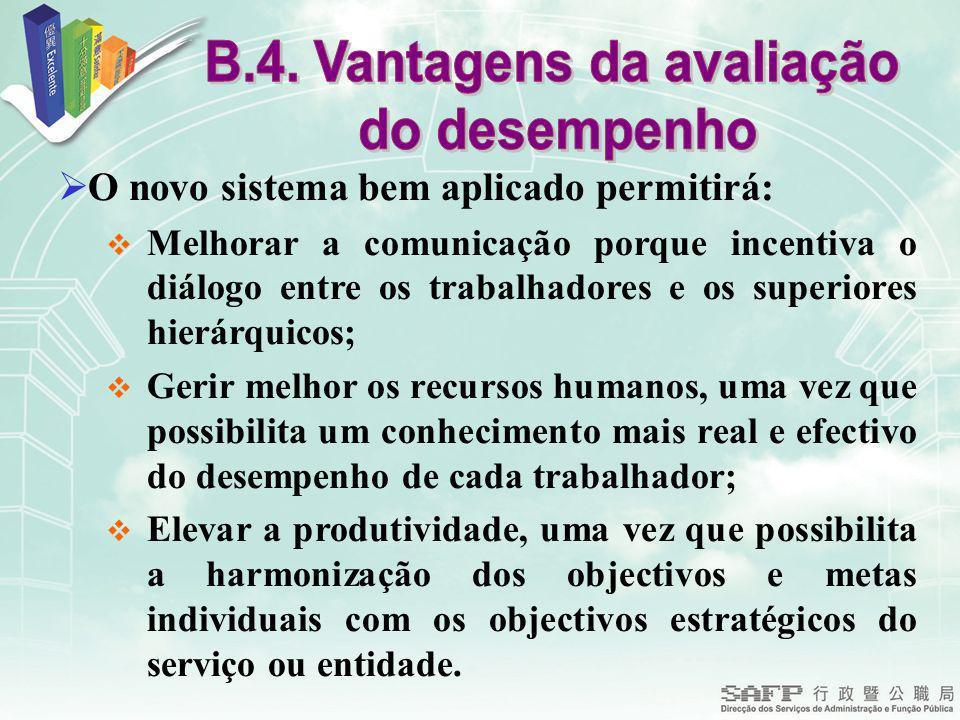 B.4. Vantagens da avaliação