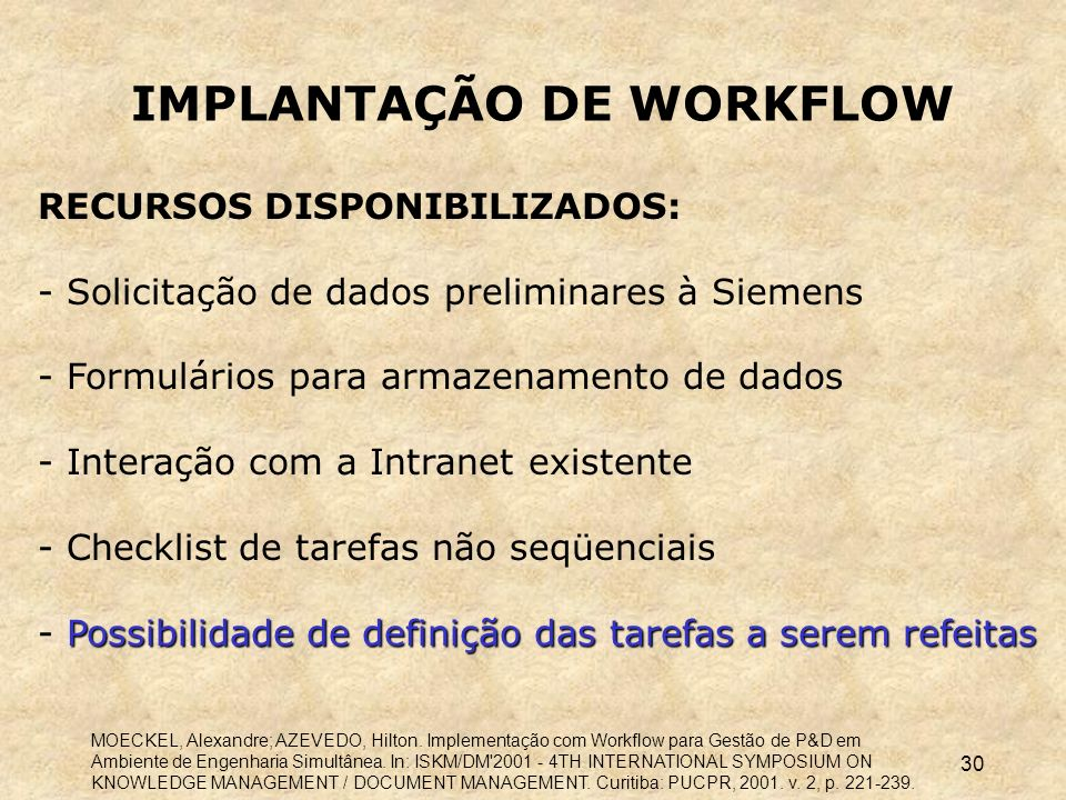 IMPLANTAÇÃO DE WORKFLOW