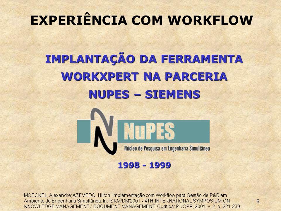 EXPERIÊNCIA COM WORKFLOW