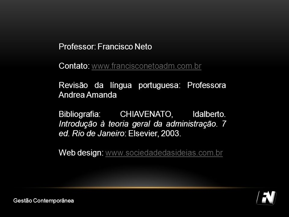 Professor: Francisco Neto