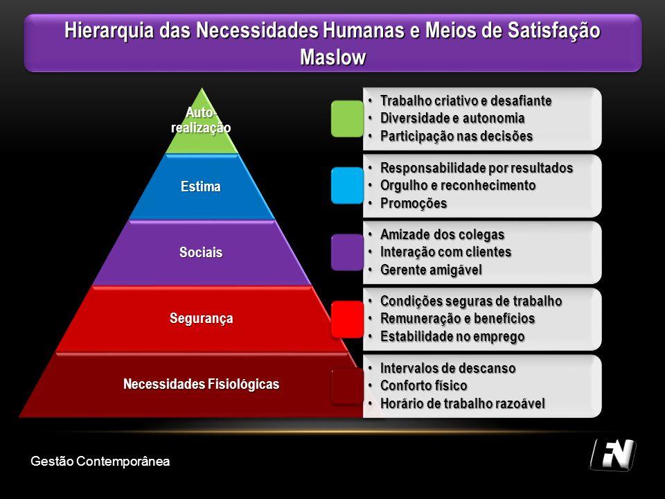Hierarquia das Necessidades Humanas e Meios de Satisfação