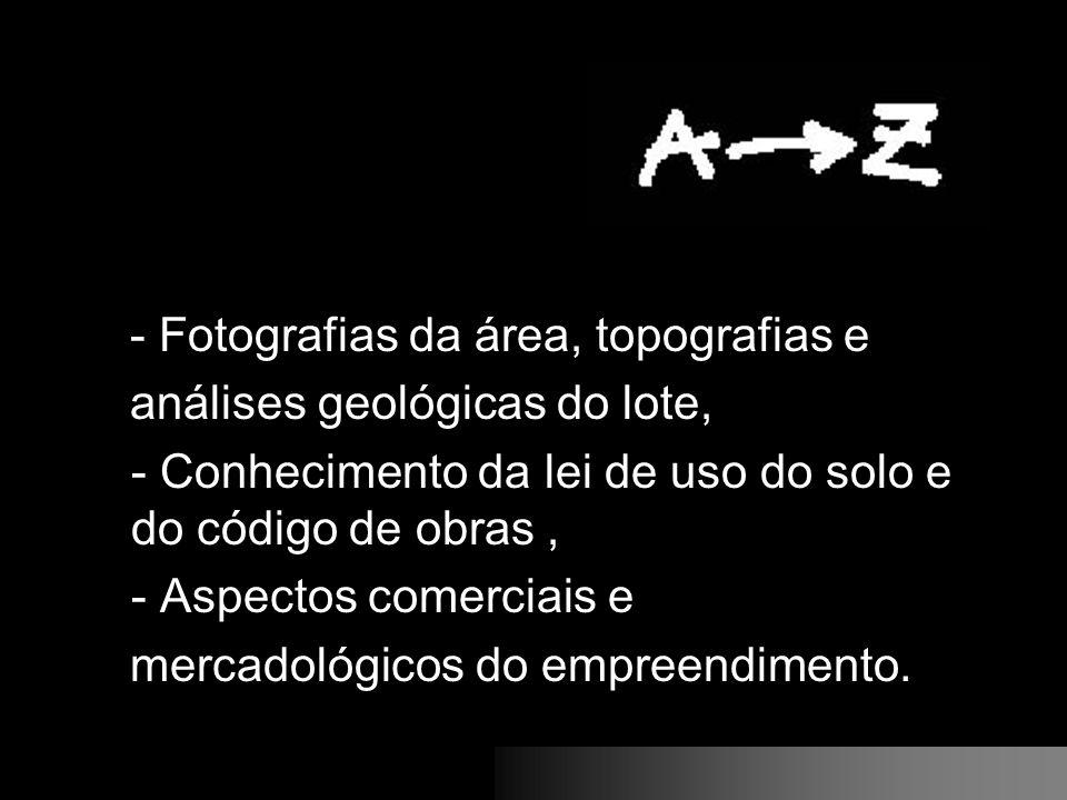 - Fotografias da área, topografias e