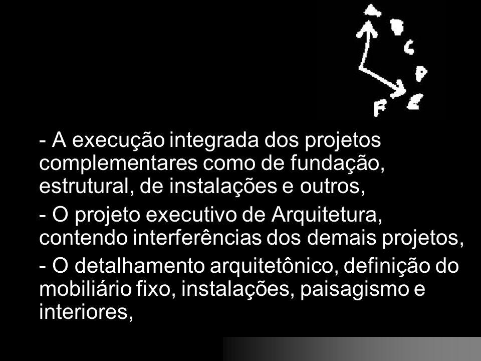 - A execução integrada dos projetos complementares como de fundação, estrutural, de instalações e outros,