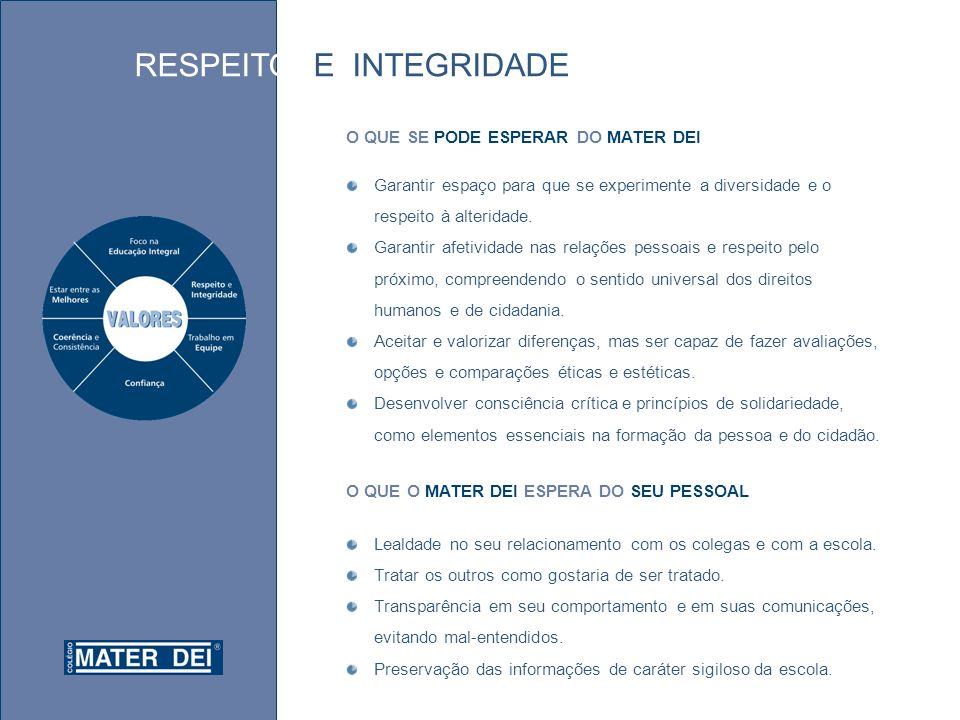 RESPEITO E INTEGRIDADE