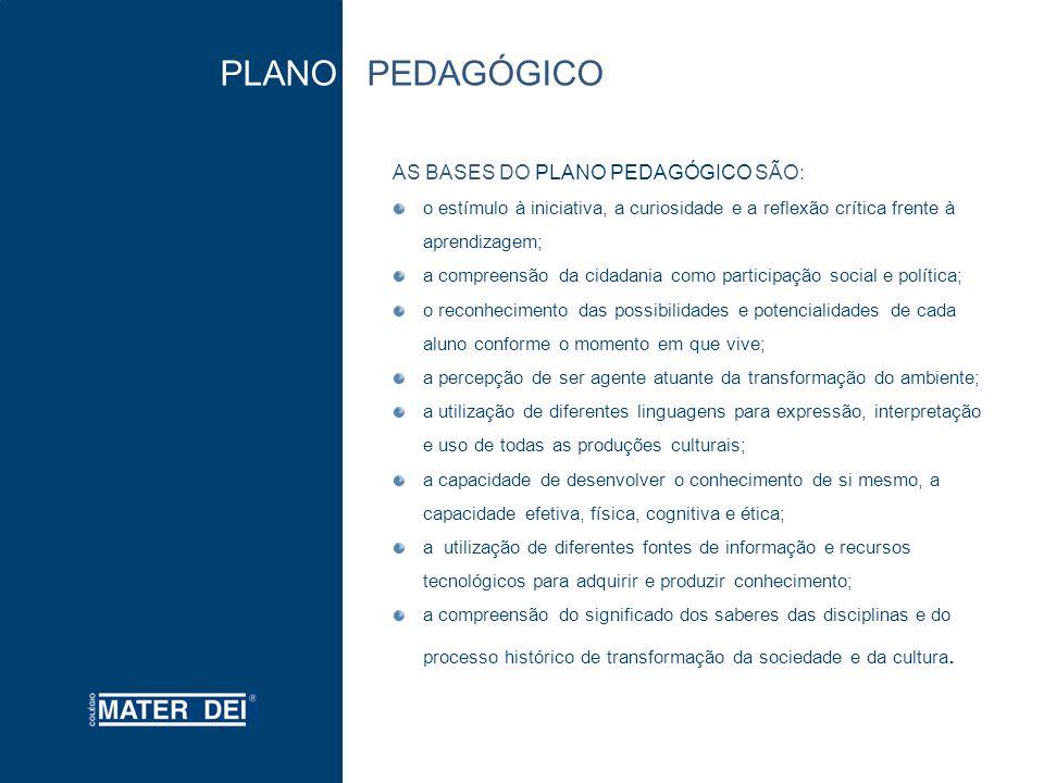 PLANO PEDAGÓGICO AS BASES DO PLANO PEDAGÓGICO SÃO: