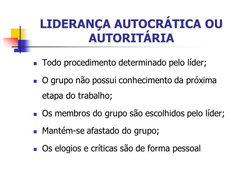 LIDERANÇA AUTOCRÁTICA OU AUTORITÁRIA