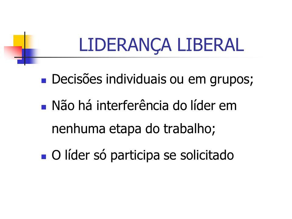 LIDERANÇA LIBERAL Decisões individuais ou em grupos;