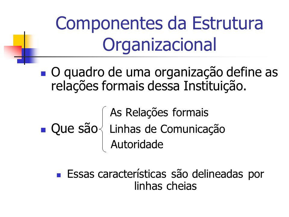 Componentes da Estrutura Organizacional