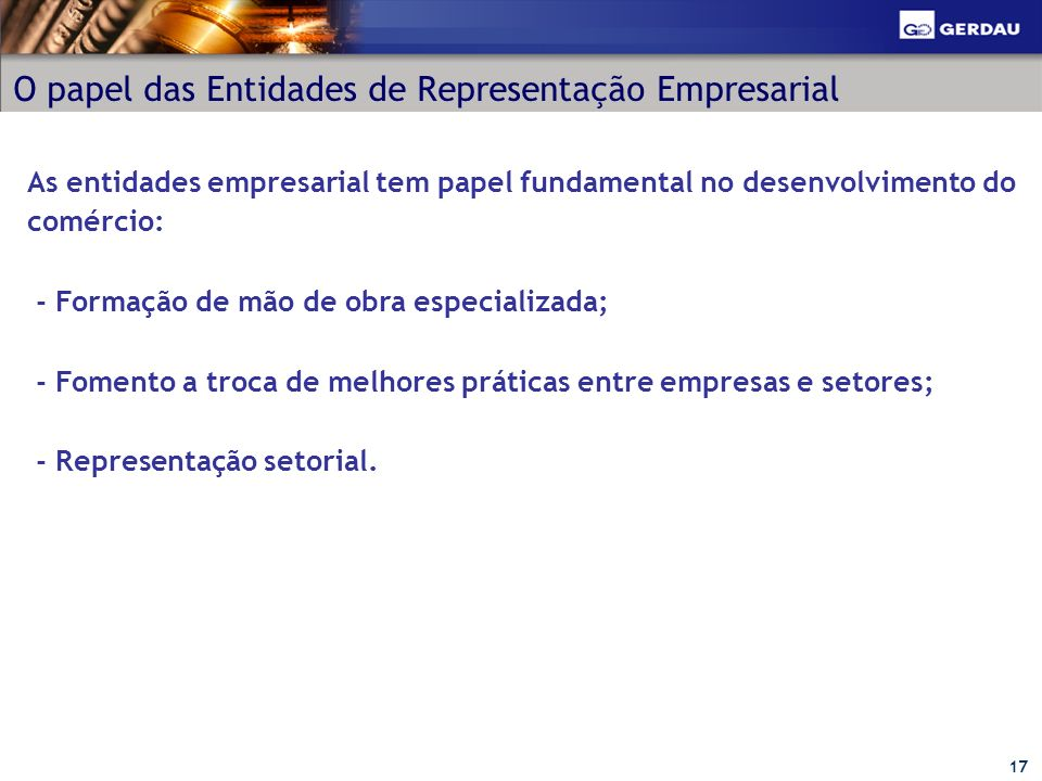 O papel das Entidades de Representação Empresarial