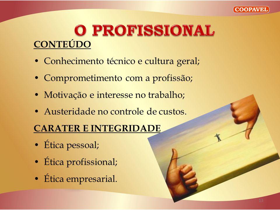 O PROFISSIONAL CONTEÚDO Conhecimento técnico e cultura geral;