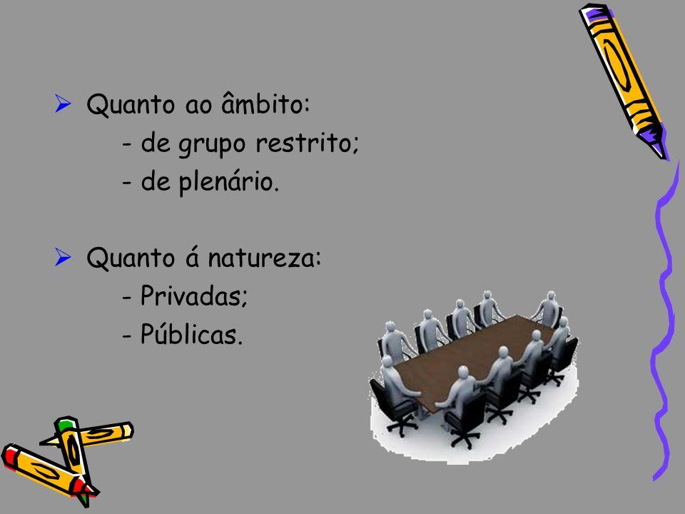 Quanto ao âmbito: - de grupo restrito; - de plenário. Quanto á natureza: - Privadas; - Públicas.
