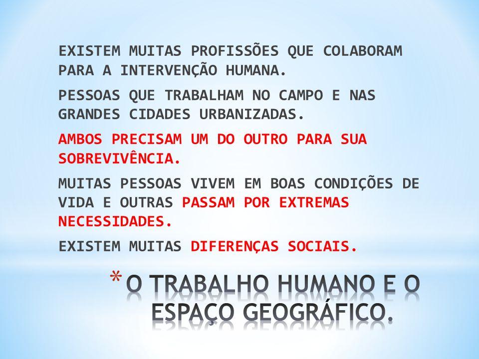 O TRABALHO HUMANO E O ESPAÇO GEOGRÁFICO.
