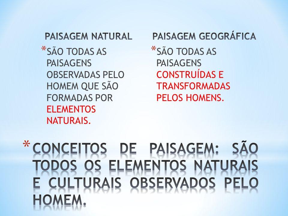 PAISAGEM NATURAL PAISAGEM GEOGRÁFICA. SÃO TODAS AS PAISAGENS OBSERVADAS PELO HOMEM QUE SÃO FORMADAS POR ELEMENTOS NATURAIS.