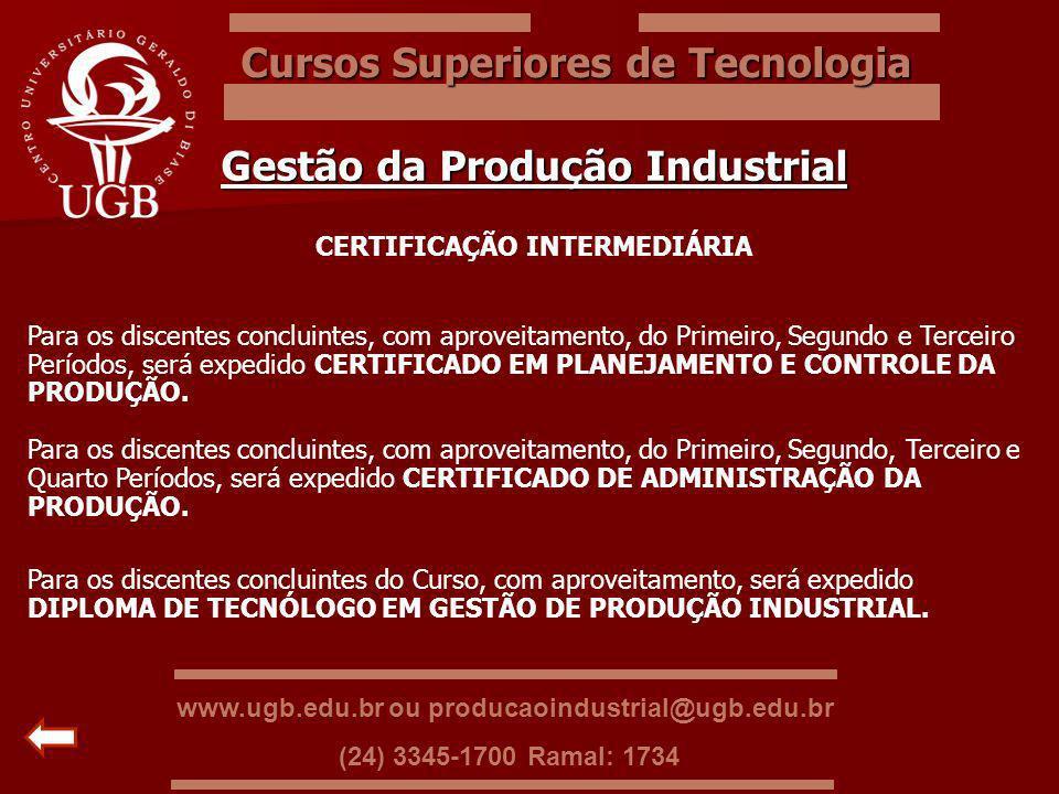 Cursos Superiores de Tecnologia Gestão da Produção Industrial