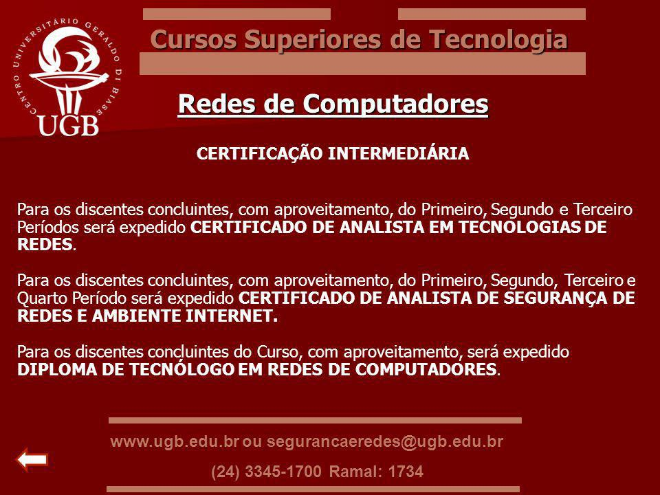 Cursos Superiores de Tecnologia CERTIFICAÇÃO INTERMEDIÁRIA