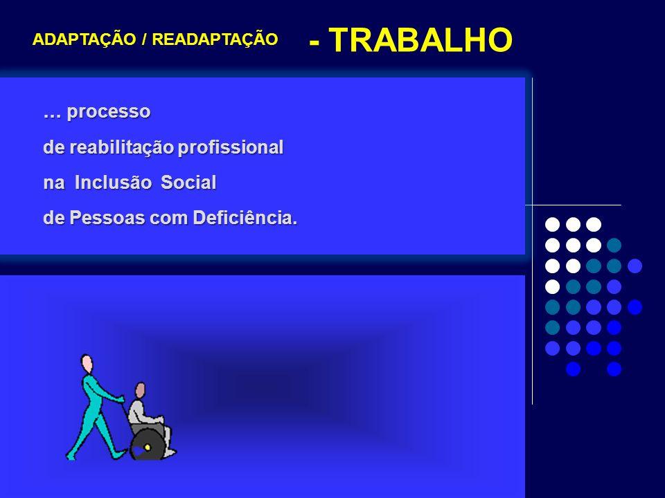 - TRABALHO … processo de reabilitação profissional na Inclusão Social