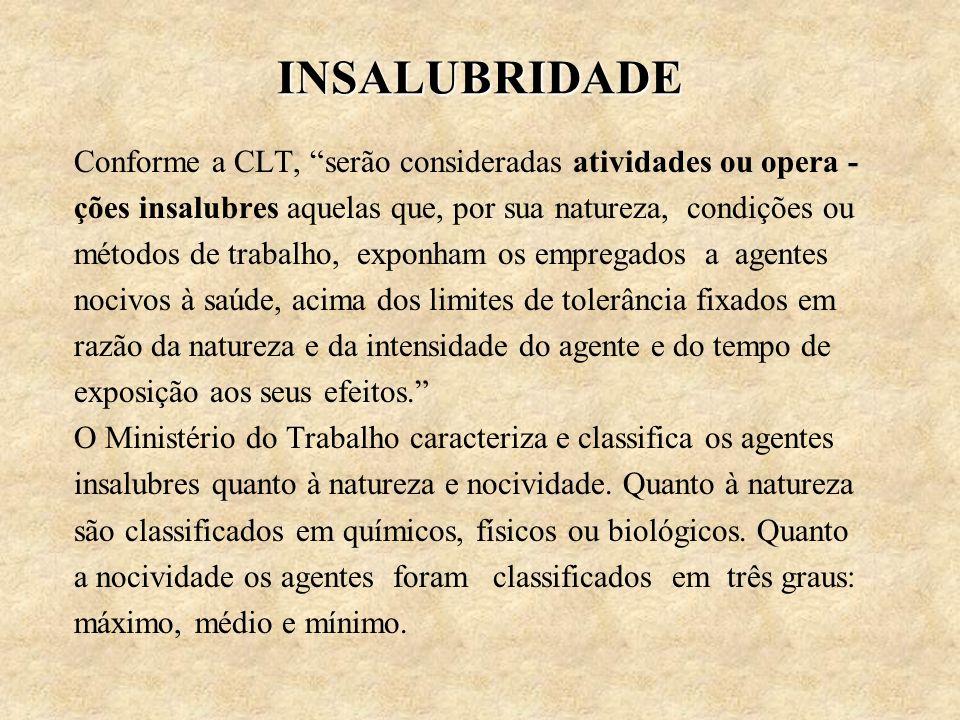INSALUBRIDADE Conforme a CLT, serão consideradas atividades ou opera - ções insalubres aquelas que, por sua natureza, condições ou.